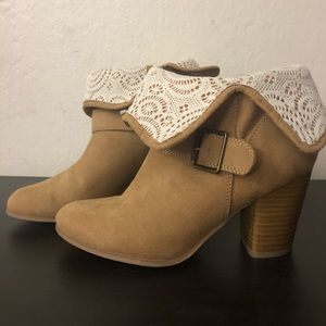 Heeled, tan, suede ankle boots